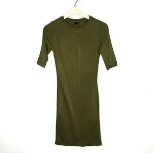 Topshop Olive Green Long Sleeve Bodycon Dress